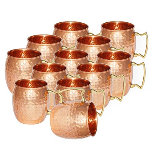 Dungri India Handmade Best Quality  Solid Copper  MOSCOW MULE MUGS - Premium 100% Solid Copper Cup -16 oz - Best Handcrafted Hammered Copper Mug for Moscow Mules- Set of 24 by Dungri India Craft