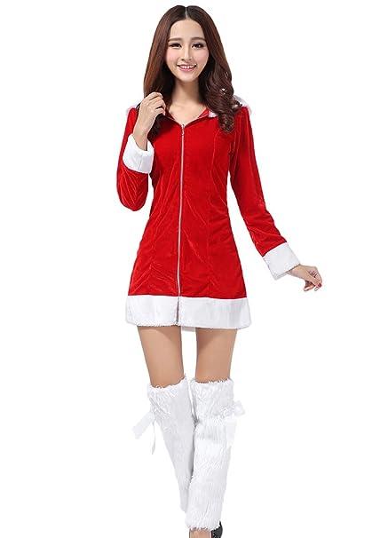 YOUJIA Donna Incappucciato Costume da Babbo Natale Donna Abito Vestito per  Natale Mascherata Feste (Rouge)  Amazon.it  Abbigliamento 4e24aeeb842