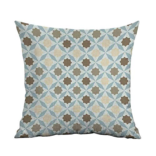 FreeKite Geometric Printed Custom Pillowcase Floral Arrangement Geometric Leaf Design Eastern Culture Influenced Abstract Work Decorative Sofa Hug Pillowcase W16 x L24 Inch Multicolor ()