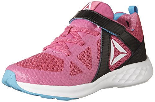 Reebok Kid's Girl's Smooth Glide Running Shoes, Charged Pink/Black/California Blue/White, 2 D US Little Kid