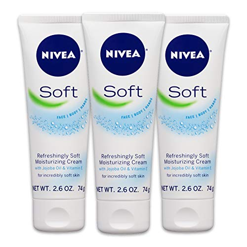 NIVEA Soft Moisturizing Creme,  All-In-One Cream For Body, Face and Hands, Travel Size, 2.6 Ounce, Pack of 3