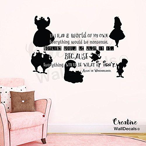 CreativeWallDecals Vinyl Wall Decal Sticker Alice in Wonderland Kids Nursery Characters r1874 -