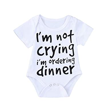 d797f50d5 Amazon.com  I m not Crying Baby Boys Girls Funny Letter Print Romper ...