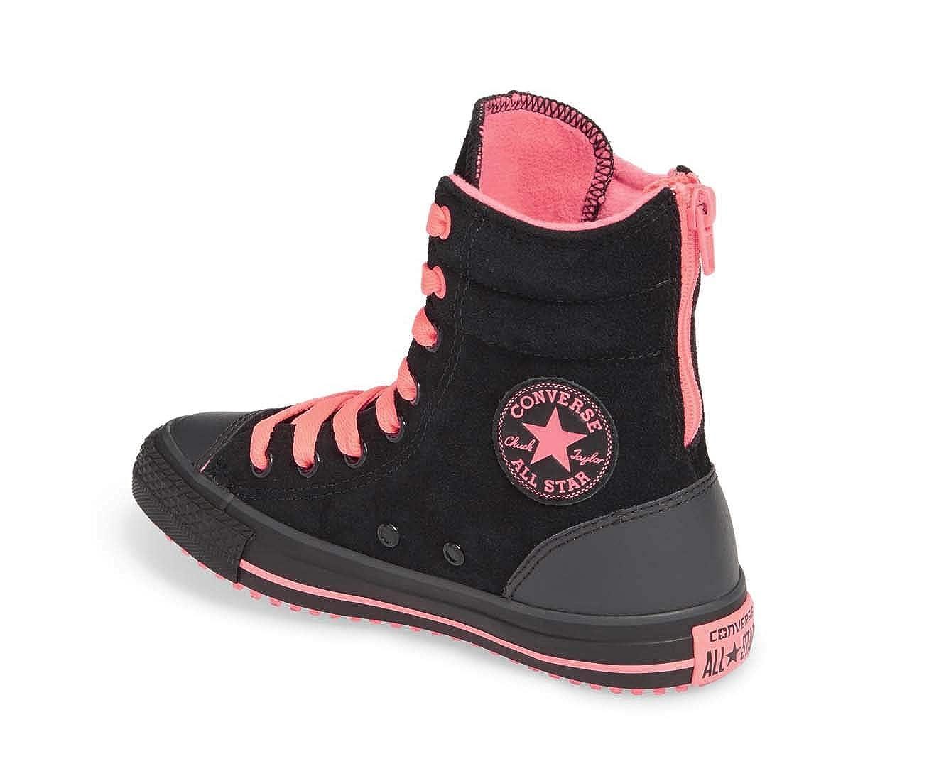 Converse Girls Hi Rise Boot Sneaker-Black//Hot Punch