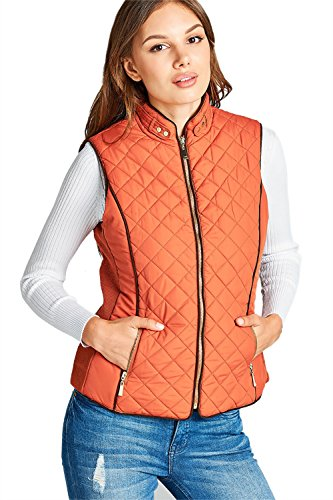 - Quilted Padding Faux Shearling Lined Vest (Rust-Small)