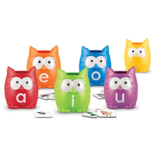 Learning Resources Vowel Owls Sorting Set, Word Recognition, Assorted Colors, Set of 6, Ages ()