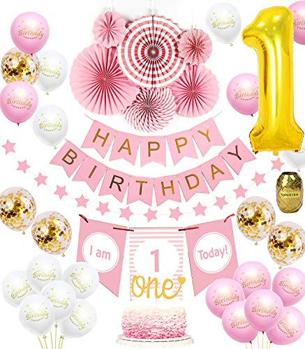 1st Birthday Girl Decorations set | Baby Girl 1st Birthday Pink Princess Theme kit, Happy Birthday Banner, High Chair Banner, Huge 1 Balloon, Pink Tissue Paper Fans, Star Garland Gold, -