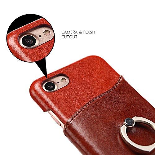 Apple iPhone 6 Plus/6S Plus Hülle, Feitenn Premium Ledertasche Bumper-Style Schutzhülle Ring Fingerhalterung Ständer Case Anti-Scratch Back Cover Handyhülle für 6 Plus/6S Plus - Rot
