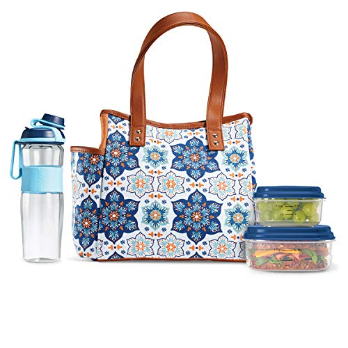 Fit & Fresh Insulated Lunch Bag Kit, includes Matching Bottle and Containers, Westerly Blue Orange Petal Medallion