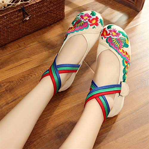 Embroidered Bottom Beige Soft Tendon Chinese Flats Ballet Espadrilles Shoes Wind Dance Ladies Bottom Embroidered Cloth Shoes Beef Shoes Shoes National PHgvcqAw