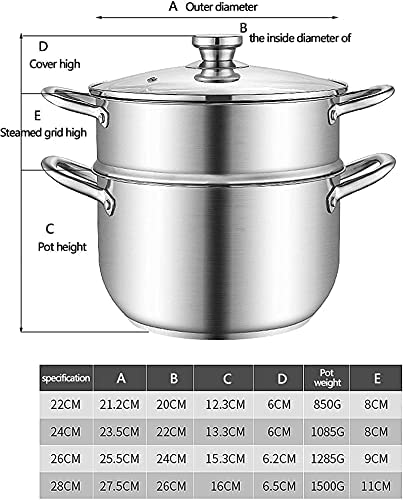 """51%2BtI1EMabS. AC Pans for cooking Stainless Steel Steamer Pot Steamer Food Steamer MultiLayer Pot with Handles on Both Sides Pot with Lid for Kitchen ThreeLayer 22cm    """"Welcome to our mallHappy shopping!Our products have been thoroughly tested, inspected and packaged before delivery.If you have any questions, please feel free to contact us so that we can provide you with the best service.""""NJOLG is committed to providing premium and long-lasting cookware, which inspires your passion for cooking.Are you sick and tired of your old steamer that keeps ruining your hard work? Looking for a solid steamer set that does the jobOur steamer can meet your complete cooking needs! You can use it as a pot or combine these components in different steamers. And make sure our steamer uses high quality stainless steel, providing you with a durable and healthy cooking tool. The ebb design of the steaming grill and the multilayer composite material bottom make the food evenly heated and delicious. It is also worth mentioning that the steamer can be compatible with a variety of stoves.Stainless Steel Steamer Pot, Steamer Food Steamer Multilayer Pot with Handles on Both Sides, Pot with Lid, for KitchenProduct Name: Multipurpose steamerProduct Material: SUS304 Stainless SteelProduct Layers: Single / Double / Three LayersProduct Specification: 22/24/26 / 28cmSurface Technology: Wire Drawing Polishing TreatmentFeatures: nonstick pan, fast heat conduction, less oily smoke, energy saving and high efficiencyScope of application: restaurants, hotels, familiesNote: if you have any questions about the order, please contact us through Amazon. We will get back to you within 24 hours. If you need more styles, you can search our LKDF brand. You will have a satisfactory answer. good day.Chaptersdescriptions off, selectedcaptions off, selectedThis is a modal window.If you are not satisfied with our products, please feel free to contact us, we will contact you within 24 hours. For more related product """