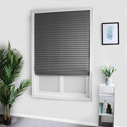 BITUBITU Temporary Blinds Cordless Pleated Shades Light Filtering Fabric Blinds Blackout Curtains for Window Kitchen Bedroom