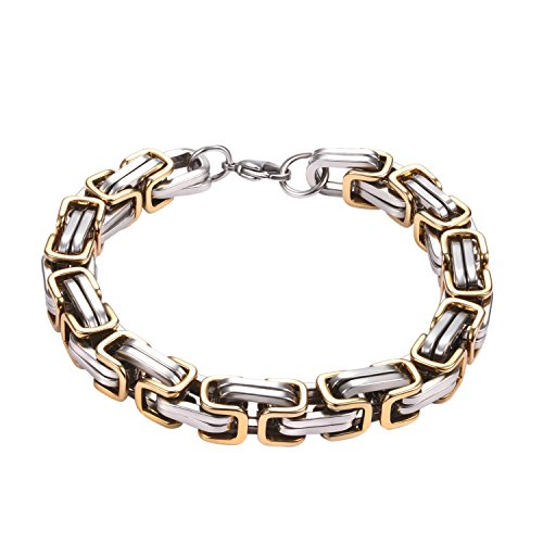 POYA 8mm Stainless Steel Men's Byzantine Chain Bracelet Silver Gold Two-Tone 8-10 inches (9.5)