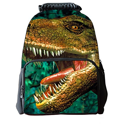 Skymoon Children's 3D Animal Dinosaur School Backpacks (16 Inch,Green Dinosaur)