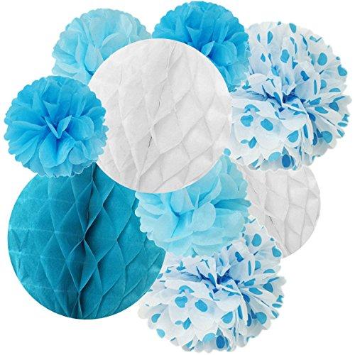 Wrapables Set of 21 Tissue Honeycomb Ball and Pom Pom Party Decorations for Weddings, Birthday Parties Baby Showers and Nursery Decor, Blue/ Light Blue/ Aqua/ White Aqua Disco Dot