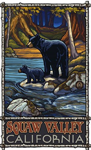 Northwest Art Mall PAL-5898 BIS Squaw Valley California Bears In Stream Print by Artist Paul A. Lanquist, 11