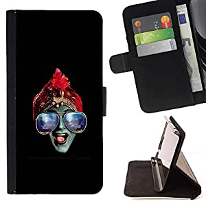 Momo Phone Case / Flip Funda de Cuero Case Cover - Azul Gafas Hindú;;;;;;;; - Samsung Galaxy S6 Edge Plus / S6 Edge+ G928