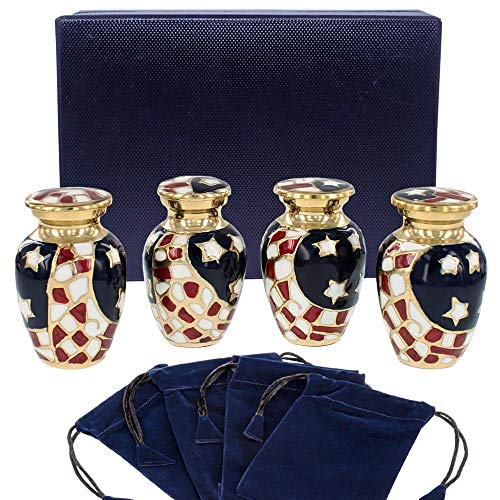 Patriotic Small Mini Keepsake Urns for Human Ashes - Set of 4 - for Veterans First Responders and Patriots That Loved America - Find Comfort and Pride with These Urns - w Velvet Case and 4 Pouches