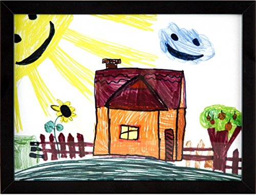 RAS Kids Art Frame - Boxed Style Wide Frame Edge Construction Paper Removable Acrylic Pane Cardboard Backing with Hooks - [Black - 9x12''] by RAS for Kids (Image #1)