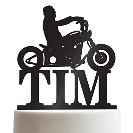 Amazon Com Biker Silhouette Chopper Motorcycle Personalized Cake