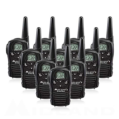 Midland LXT118X10 FRS Walkie Talkies with Channel Scan - Up to 18 Mile Range Two Way Radio - Black (Pack of ()