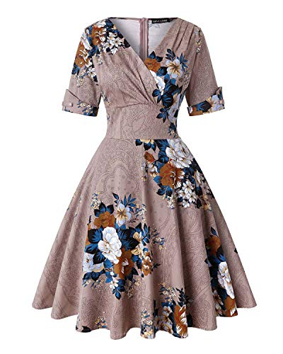 (Women's V-Neck Floral Half Sleeve Midi Fit Flare Retro Dress Cocktail Dresses (Floral Khaki,Size XL) )