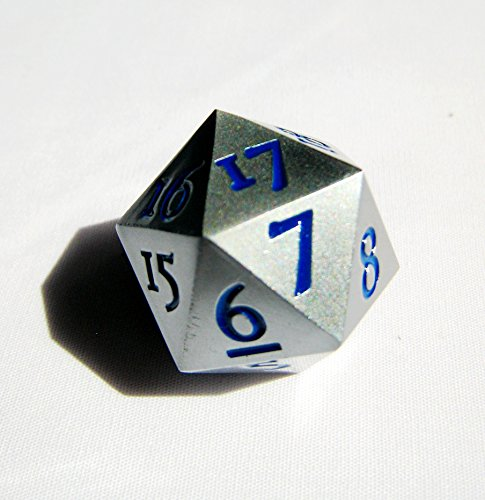 Metal Countdown (Extra Large Solid Metal Silver D20 Countdown Dice 20 face Count Down Counter 20 faced with Blue Numbers Extra Heavy)