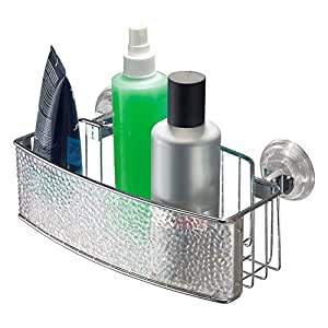 InterDesign - Rain - Power Lock - Organizador para cubículo de ducha, con ventosas; para champú, acondicionador, jabón - rectangular - Claro