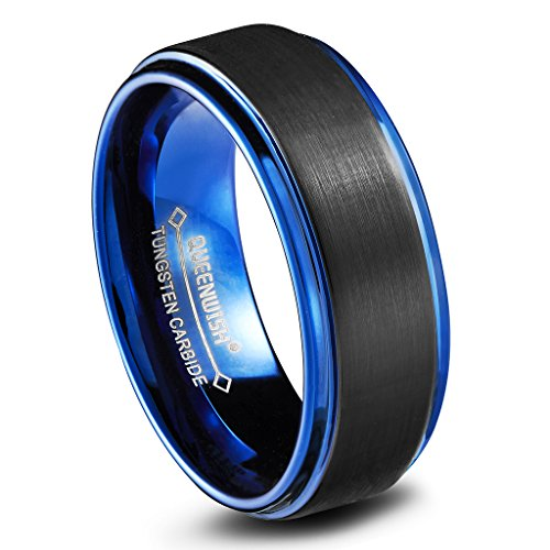 8mm Tungsten Mens Wedding Bands Brushed Matte Blue Black Two Tone Engagement Rings Comfort Fit Size 12.5 (Tone Claddagh Wedding Two Ring)