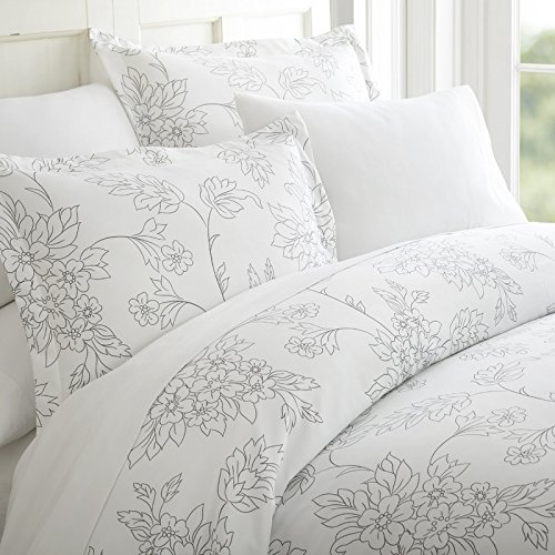 Simply Soft Ultra Soft Vines Patterned 3 Piece Duvet Cover Set, Queen, Gray (Cover Patterned Duvet)