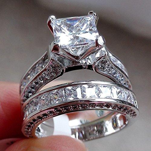 WensLTD 2-in-1 Womens Vintage White Diamond Silver Engagement Wedding Band Ring Set (#7, Silver)