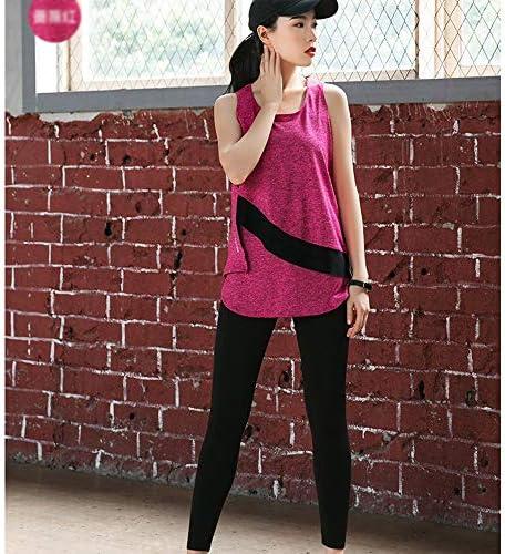 レディースジャージ上下セット 女性用ヨガセットスポーツウェアセクシーベストタイツスポーツウェアフィットネスウェア (Color : Pink, Size : M)