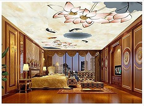 Leegt Papel Tapiz 3D Murales De Techo De Foto Loto Frescos De Agua De Jibia Cenit Frescos Decoraciones Sala De Estar 350cmX280cm