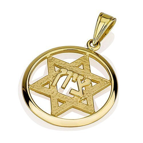 14k Gold Round Jerusalem Star of David Pendant with hammered and polished - Polished Pendant Bail