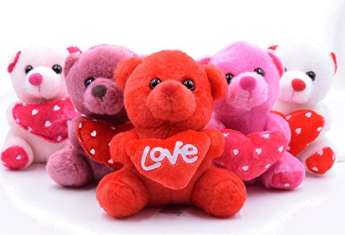Set of 5: Valentine's Day Heart Love Bears (Pink, White, Red, Purple, Baby Pink)