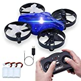 Kids Toys Mini Drone, ONIPU Remote Control Quadcopter RC Flying Toys 2.4GHZ 4CH 6Axis Altitude Hold 3D Flips Headless Mode with LED Lights Funny Gifts Cool Gadgets for Boys Girls Kids Teenagers Adults (Blue)