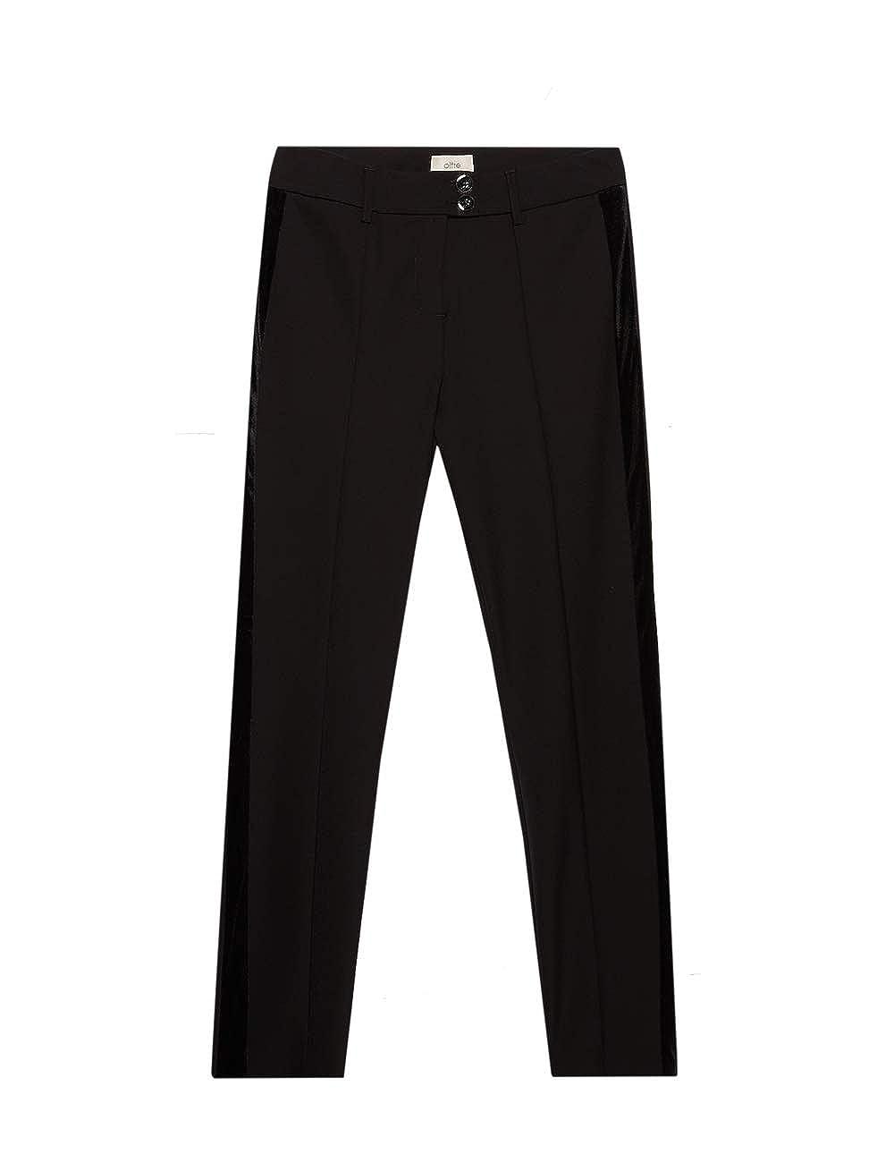 Pantaloni Skinny con Banda in Velluto Oltre Italian Size