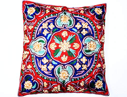 ZARMIN BEDDING ESSENTIALS Pillow Cover Elite Limited Collection of Kashmiri Hand Crafted Square Decorative 16 x 16 inch Cushion Covers for Indoor use on Bed or Sofa (ART-18 CHHOGRI). Set of Two.