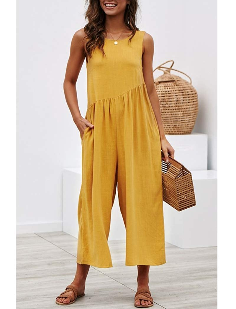 Moschifia Womens Loose Backless Wide Legs Flowy Casual Sleeveless Jumpsuit Romper with Pockets