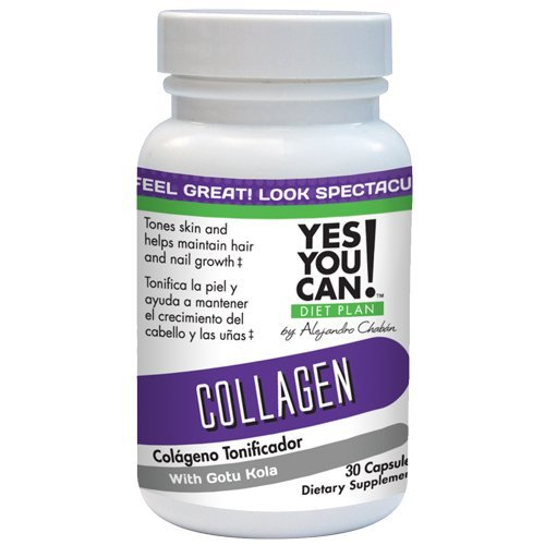 Yes You Can! Diet Plan Collagen Supplement for Vital Bone and Joint Support, Glowing Skin with Gotu Kola, Colágeno Para Articulaciones, Huesos, Cabello y Uñas Saludables - 30 Capsules