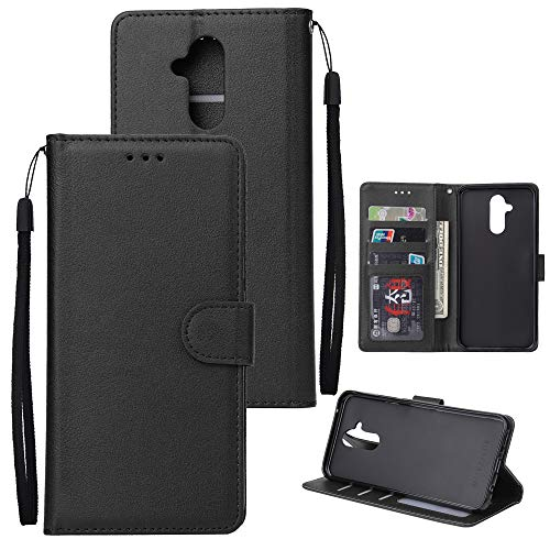Price comparison product image MGVV Huawei Mate 20 Lite Case,  [Wallet Pouch] PU Leather Wallet Book Style Case with Credit Card Holder Kickstand for Huawei Mate 20 Lite Black