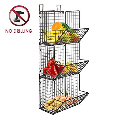 - Hanging fruit basket rustic shelves Metal Wire 3 Tier Wall Mounted / over the door organizer Kitchen Fruit Produce Bin Rack Bathroom Towel Baskets fruit stand produce storage rustic decor shabby chic
