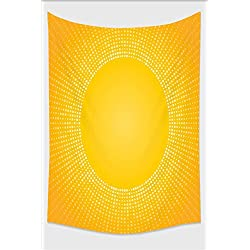 Nalahome-Yellow Decor Moden Digital Image of the Sun with Sunshine in Cool Circle Pixels Art Mustard Tapestry Wall Hanging Wall Tapestries 36L x 24W Inches