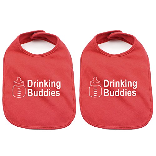 Buddy Bib (Milk Drinking Buddies Twin Set Unisex Newborn Baby Soft 100% Cotton Bibs in)
