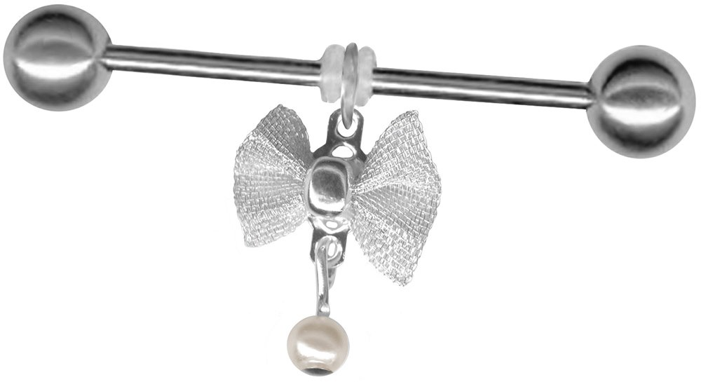 BodySparkle Body Jewelry Ivory Imitation Pearl Dangle Bow Industrial Barbell 16g-1 & 7/8-47mm Stainless Steel Straight Bar