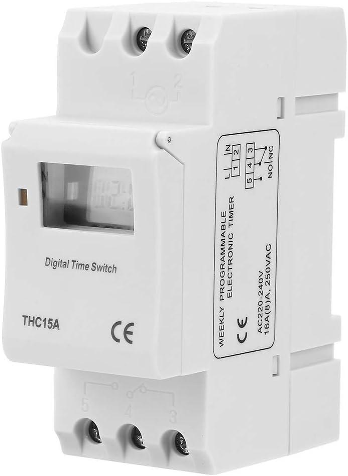 Minuterie Programmable Num/érique Programmable sur Rail DIN 16A 220-240VAC for /Équipement Programmable Aeloa THC15A Minuterie