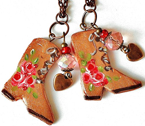 Artisian Crystal (Handmade Bohemian Cowgirl Boot Pendant Necklace with Heart Charm and Swarovski Crystal Rhinestones)
