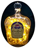Upcycled Crown Royal Mood Therapy Liquor Bottle Light w/100 Gold LED's Topped Off with an Asfour 30% Leaded Clear Crystal Prism Ball