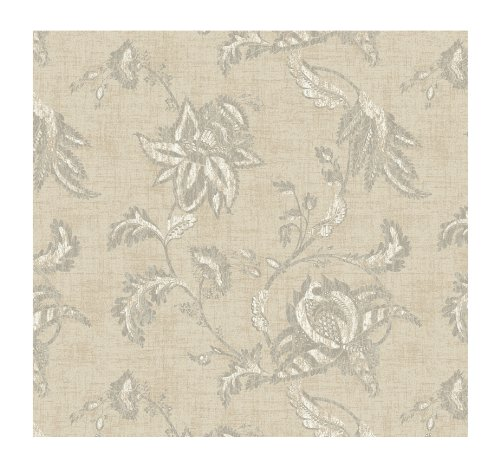 (York Wallcoverings KC1837SMP French Dressing Jacobean Floral Scroll 8-Inch x 10-Inch Wallpaper Memo Sample, Shimmering Champagne/Deep Taupe/White)