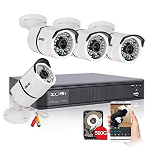 ZOSI 960H Video Surveillance System,Security DVR Recorder with 500GB HDD,4PCS1000TVL Weatherproof Night Vision 100ft (30m) CCTV Cameras
